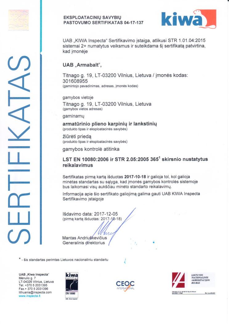 eksploatacinių savybių pastovumo sertifikatas